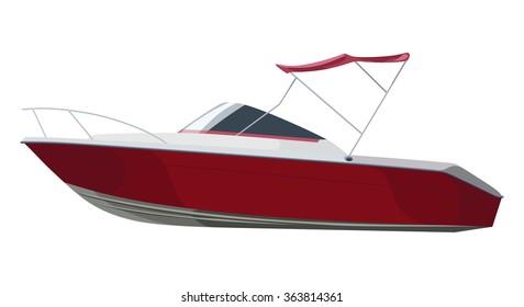 Red motorboat on transparent background