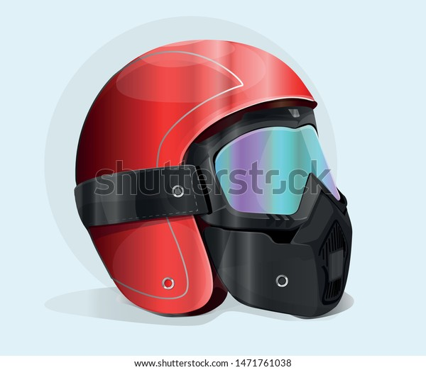 Red motorcycle helmet with safety glasses