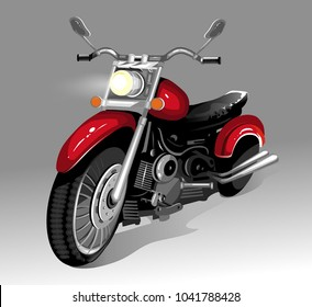 Red motorcycle on a light gray background. Vector illustration.