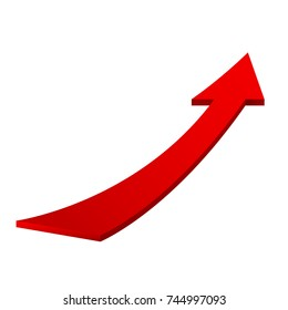 Red moving up arrow. Vector 3d illustration isolated on white background