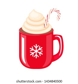 Red mug with the snowflake and coffee or hot chocolate with whipped cream and candy vector illustration isolated on white background. Winter hot drinks.