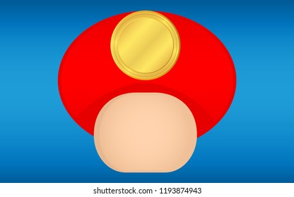 Red Mushroom Toon Charater Isolate on Blue Background