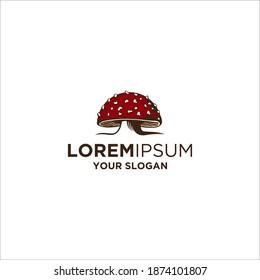 red mushrooms logo vector illustrations