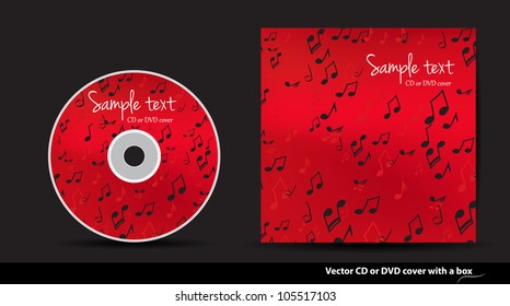 Red music vector CD or DVD cover design with notes