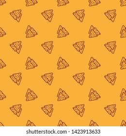 Red Nachos icon isolated seamless pattern on brown background. Tortilla chips or nachos tortillas. Traditional mexican fast food. Vector Illustration