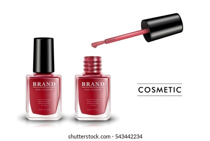 Red nail lacquer template, fashion nail polish product in glass bottle isolated on white background, 3d illustration