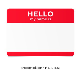 Red name tag. Hello my name is - label