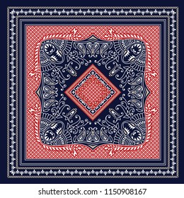 red and navy bandanna pattern