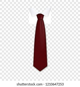 Red necktie icon. Realistic illustration of red necktie vector icon for web design on transparent background for web