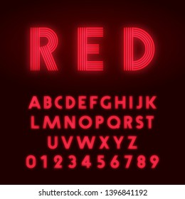 Red neon alphabet font. Letters and numbers line design. Vector illustration.