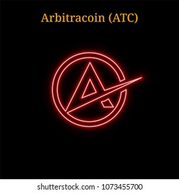 Red neon Arbitracoin (ATC) cryptocurrency symbol. Vector illustration eps10 isolated on black background