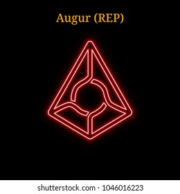 Red neon Augur (REP) cryptocurrency symbol. Vector illustration eps10 isolated on black background