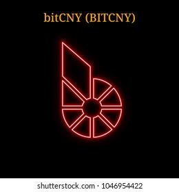 Red neon Bitcny (BITCHY) cryptocurrency symbol. Vector illustration eps10 isolated on black background