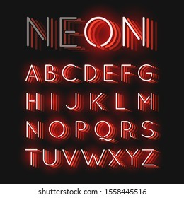 Red neon character font set on black background with reflections, vector illustration