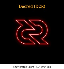 Red neon Decred (DCR) cryptocurrency symbol. Vector illustration eps10 isolated on black background