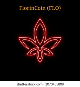 Red neon FlorinCoin (FLO) cryptocurrency symbol. Vector illustration eps10 isolated on black background