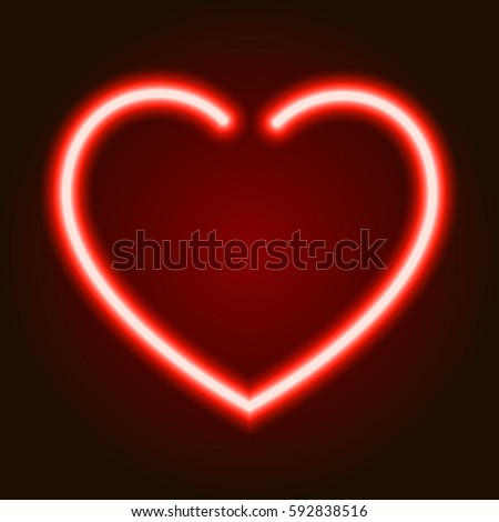 Red Neon Glowing Heart Symbol Love Stock Vector Royalty Free