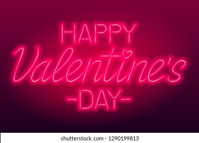 Red neon Happy Valentine's Day text. Vector glowing neon sign. Valentines card.