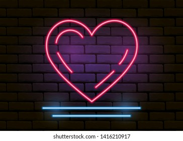 Red neon heart on a brick wall. Neon sign, night light