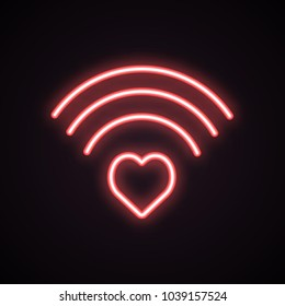 Red neon icon of heart wi-fi. Internet dating, romance, love signal. Valentines Day concept. Can be used for application icons, posters, web design