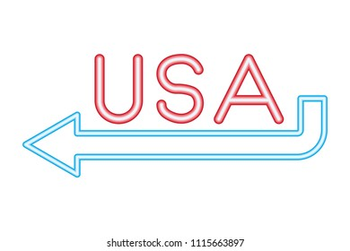 red neon lettering usa and blue arrow sing