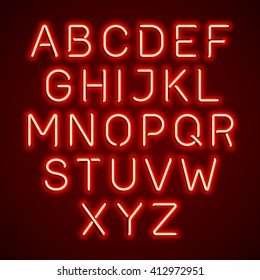 Red neon light glowing alphabet. Vector.