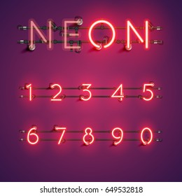 Red neon numbers set on purple background, vector illustration
