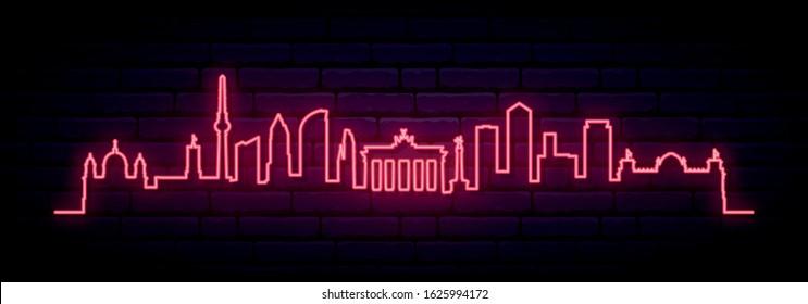 Red neon skyline of Berlin city. Bright Berlin long banner. Vector illustration.