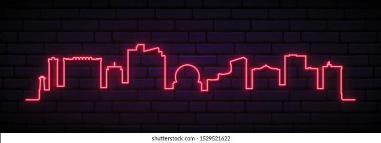 Red neon skyline of Reno City. Bright Reno City long banner. Vector illustration.