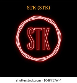 Red neon STK (STK) cryptocurrency symbol. Vector illustration eps10 isolated on black background