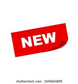 Nouvel auto-collant carré rouge sur fond blanc. Image vectorielle