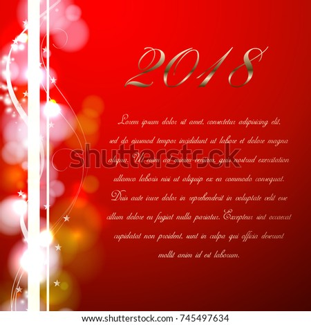 red new year card 2018 celebration background with bokeh on the red background celebration