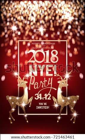 red new year eve party invitation card with defocused lights on the background and reindeers
