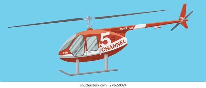 Red news helicopter in the air vector illustration. Side view of a civil brandless heli.