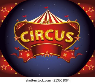 Red night circus sign. A circus sign in the night for your entertainment