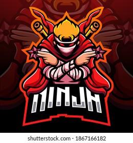 Red ninja mascot. esport logo design