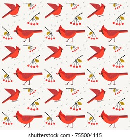 Red Northern Cardinal birds seamless pattern. Cartoon cute style. Winter birds of city garden, backyards. Stylized animal sign. Element for wrapping, wallpaper, banner background. Vector illustration