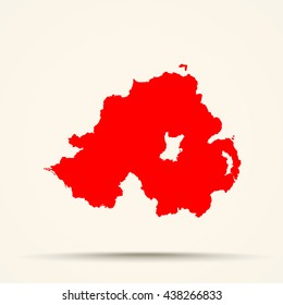 Red Northern Ireland Map Illustration