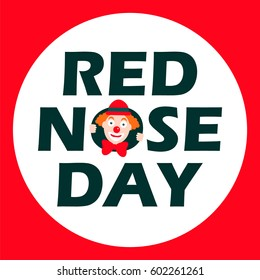 Red nose day card. Vector illustration.