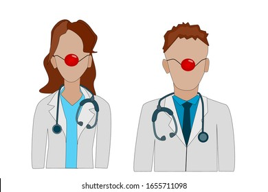 Red Nose Day. Doctor with a red clown nose in a white coat with a stethoscope isolated on white background. Health workers wearing a red nose. Doctors Day. Medical event. Stock vector illustration