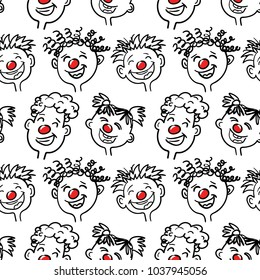 Red nose day. Seamless vector pattern.  Sketch, hand drawn style. Smiling and laughing people.