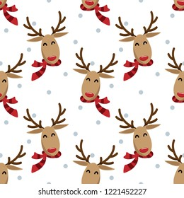 Red nose reindeer in winter custom seamless pattern. Cute Christmas holidays cartoon character background.