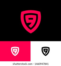 Red number 9 in the shield. Number 9 monogram in the shield on different backgrounds. Emblem of antivirus or protection system.