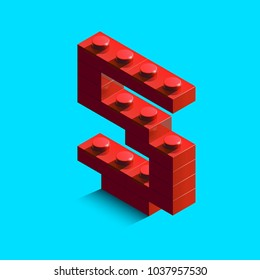 Red number Five from constructor lego bricks on blue background. 3d lego number zero. 3d number.