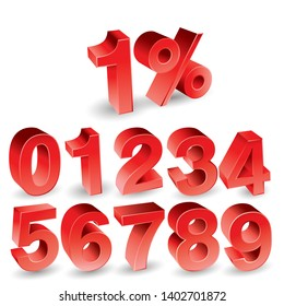 Red Number Letter. 0, 1, 2, 3, 4, 5, 6, 7, 8, 9 numeral alphabet. Vector Isolated Number