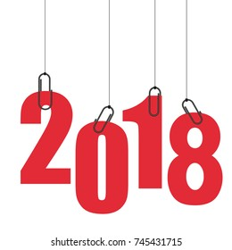 red numbers 2018. New Year.
