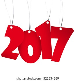 red numbers showing New Year 2017 with white background