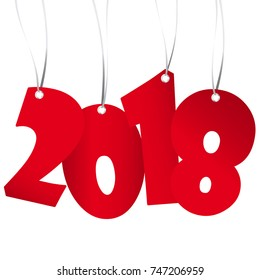 red numbers showing New Year 2018 with white background