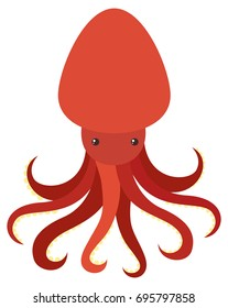 Red octopus on white background illustration