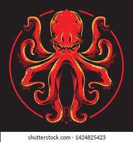 red octopus vector and logo